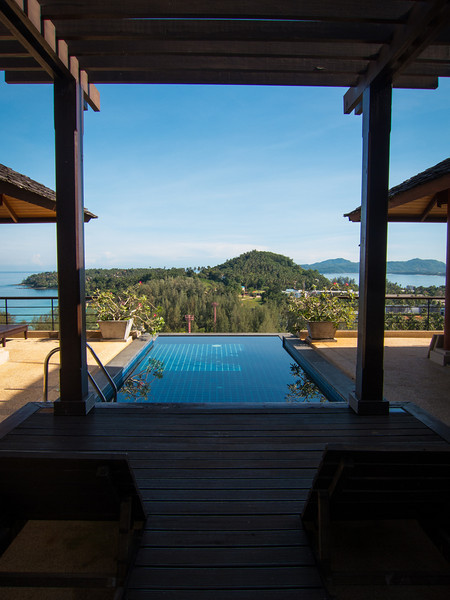 A view from the deck of the villa overlooking the pool and beaches below.