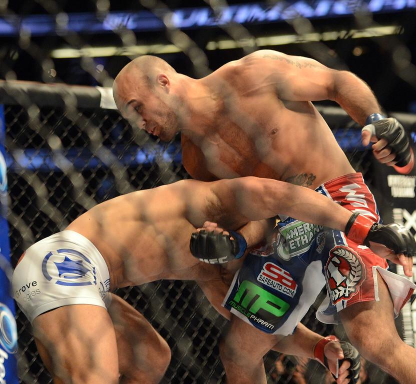 . Robbie Lawler vs Josh Koscheck during their UFC 157 match at the Honda Center in Anaheim Saturday, February  23, 2013.  Lawler  beat Koscheck via 1st round TKO. (Hans Gutknecht/Staff Photographer)