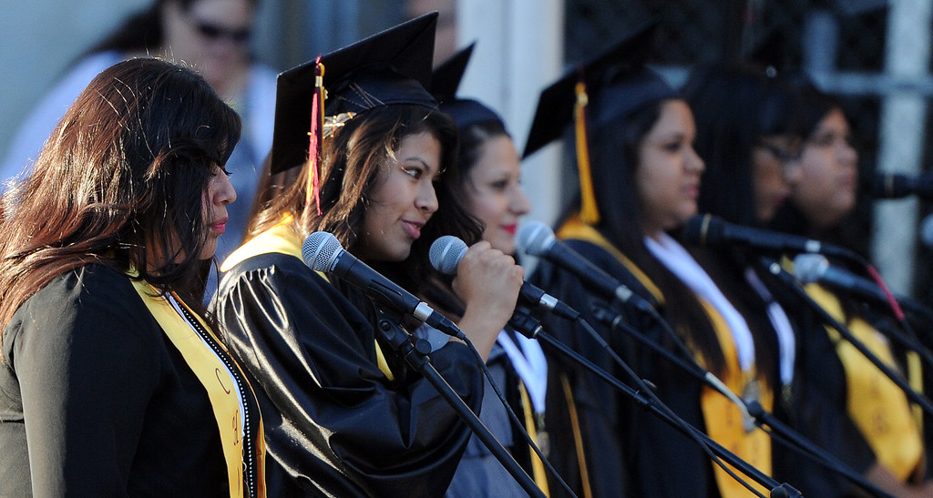 . The choir performs during the Vail High School commencement at Vail High School on Tuesday, June 18, 2013 in Montebello, Calif.