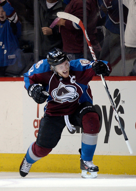 . Gabriel Landeskog (92) of the Colorado Avalanche celebrates his second goal during the second period of action. The Colorado Avalanche hosted the Minnesota Wild in the first round of the Stanley Cup Playoffs at the Pepsi Center in Denver, Colorado on Saturday, April 19, 2014. (Photo by John Leyba/The Denver Post)
