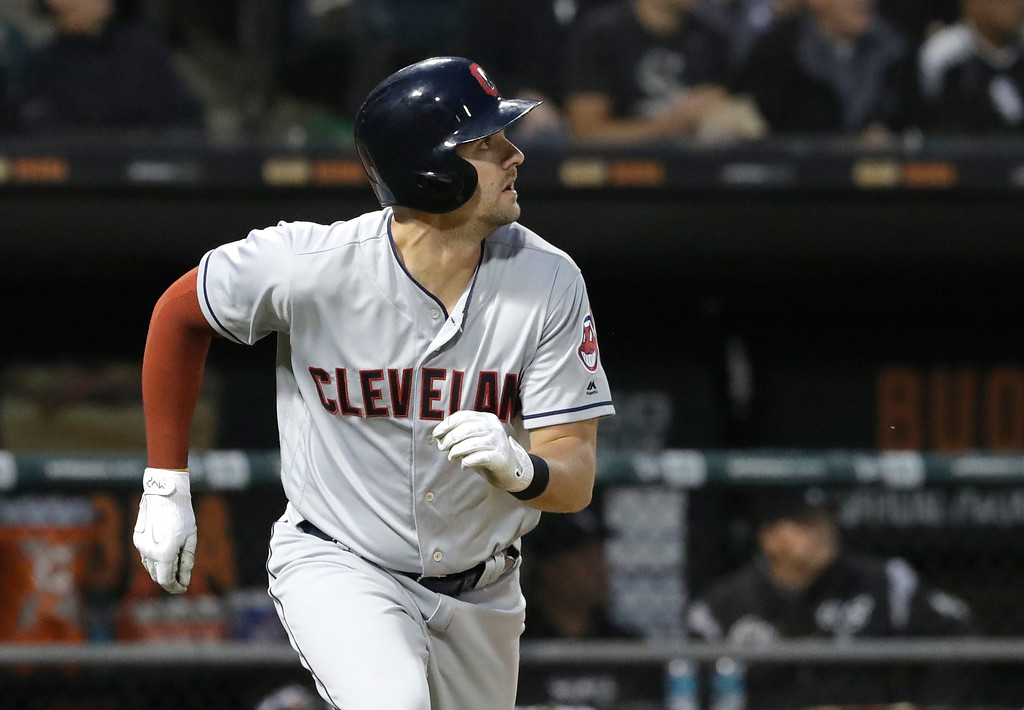 . Cleveland Indians\' Lonnie Chisenhall watches his RBI single off Chicago White Sox starting pitcher Lucas Giolito during the fourth inning of a baseball game Monday, June 11, 2018, in Chicago. Yonder Alonso scored on the play. (AP Photo/Charles Rex Arbogast)