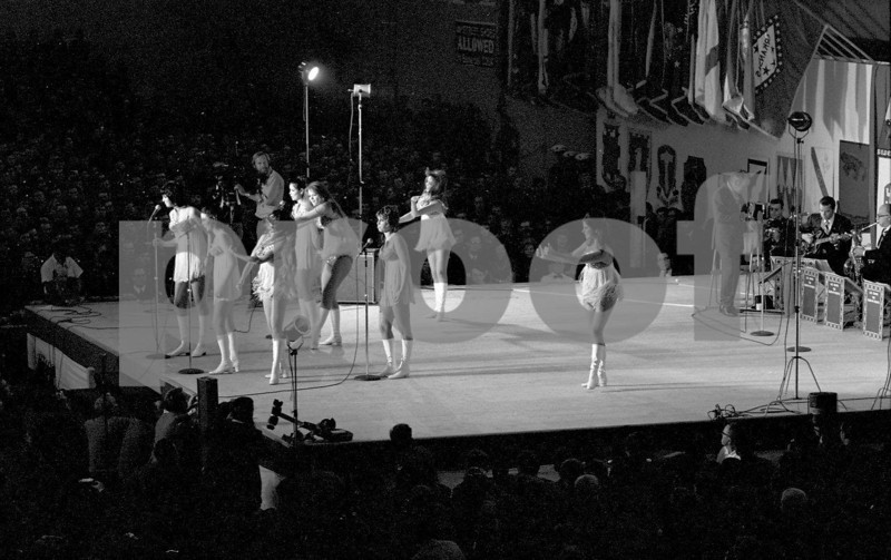 Dingaling Dancers performing with Les Brown and Bob Hope for the United States military forces on his Dec. 18, 1970 USO tour in Fleigerhorst, Germany.