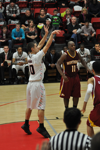 Max Landis takes a freethrow shot against Winthrop University Tuesday February 19, 2013.