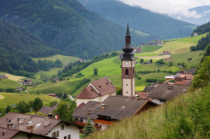 San Pietro Church over Funes Valley also know as Val di Funes.  This beautiful alpine town and valley are supremely lovely and enchanting.