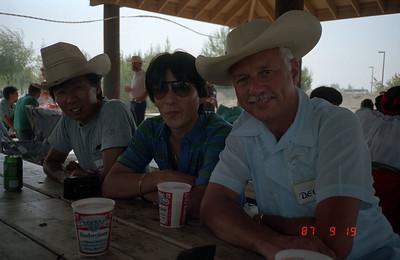 Susumu Furusawa, Nakajima-san, and Del-san at Intech picnic.