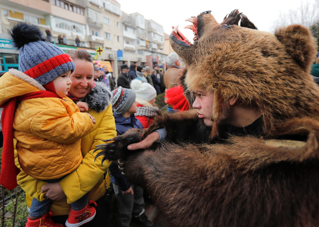 . In this Saturday, Dec. 30, 2017, picture a man wearing a bear fur costume approaches a young spectator during an annual bear parade in Comanesti, Romania. The tradition, originating in pre-Christian times, when dancers, wearing colored costumes or animal furs, went from house to house in villages singing and dancing to ward off evil, has moved to Romania\'s cities, where the ritual is performed for money.(AP Photo/Vadim Ghirda)