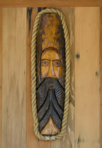 Door carving, Eagle, Alaska.