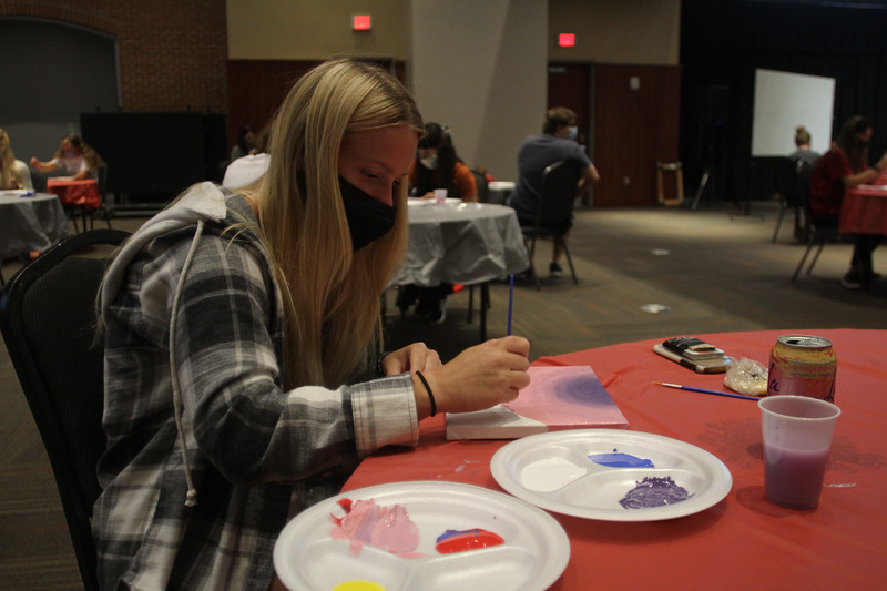 Student Activities hosted Guided Paint Night in Tucker Student Center.