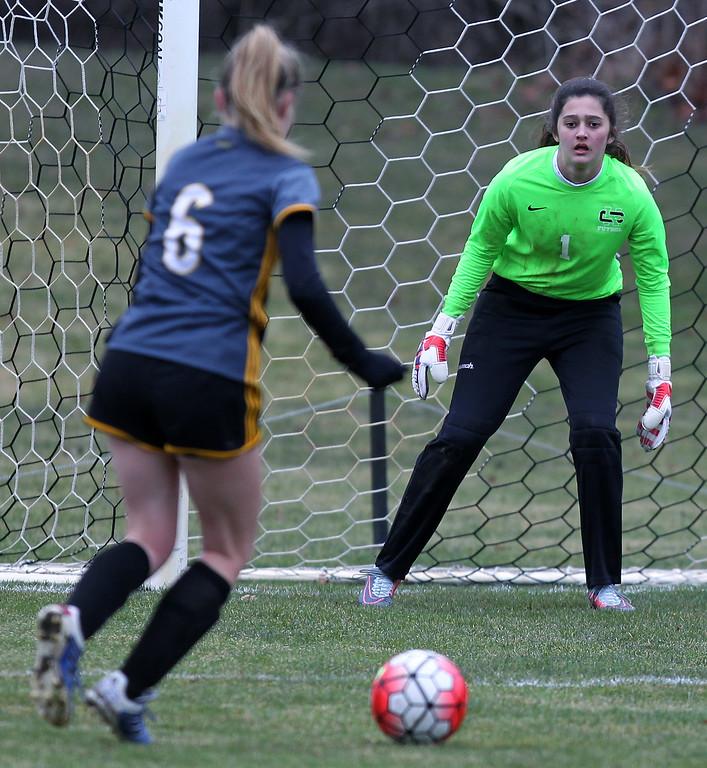 . Madison Heights Bishop Foley defeats Cranbrook-Kingswood 2-0 in varsity soccer action at Cranbrook-Kingswood Saturday, April 14, 2018. (For The Oakland Press / LARRY McKEE)