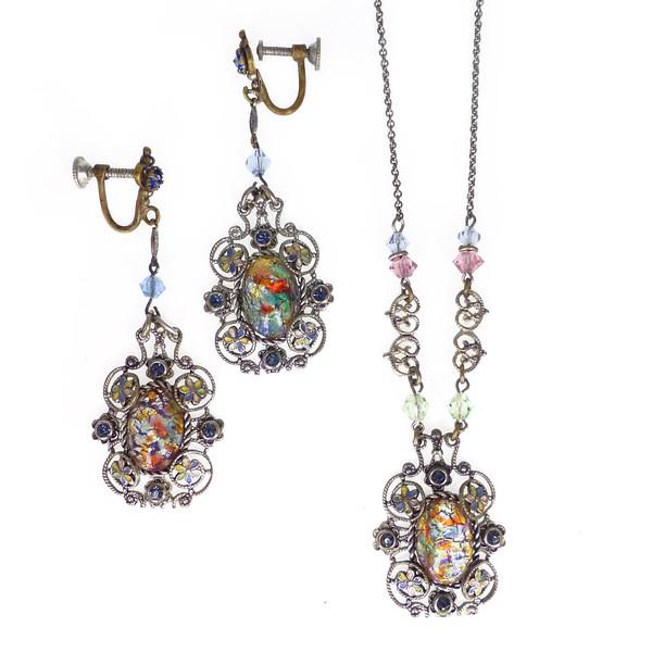 Vintage Art Deco Czech Rainbow Opalescent Foil Filigree Necklace Earrings Set