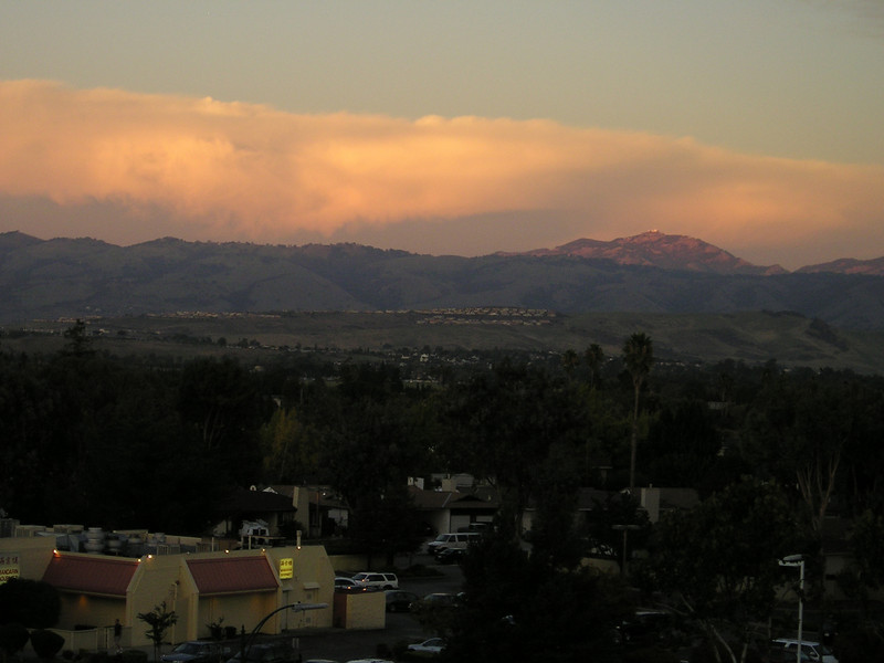 Looking east across the nearby shopping area towards Mount Hamilton (Lick Observatory just visible on top). (From top level of Oakridge Shopping Center parking garage.)
