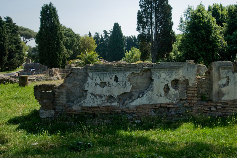 Ruins of an old structure in Ostia Antica, Italy