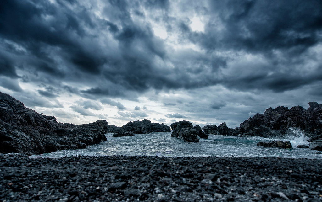 Stormy lava beach on Hachijojima Island, Japan - 2014