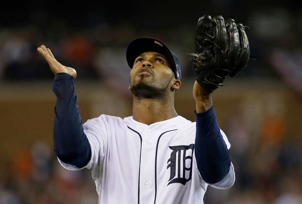 . Detroit Tigers\' Al Alburquerque looks up at the end of top of the ninth inning during Game 3 of the American League baseball championship series against the Boston Red Sox Tuesday, Oct. 15, 2013, in Detroit. (AP Photo/Matt Slocum)