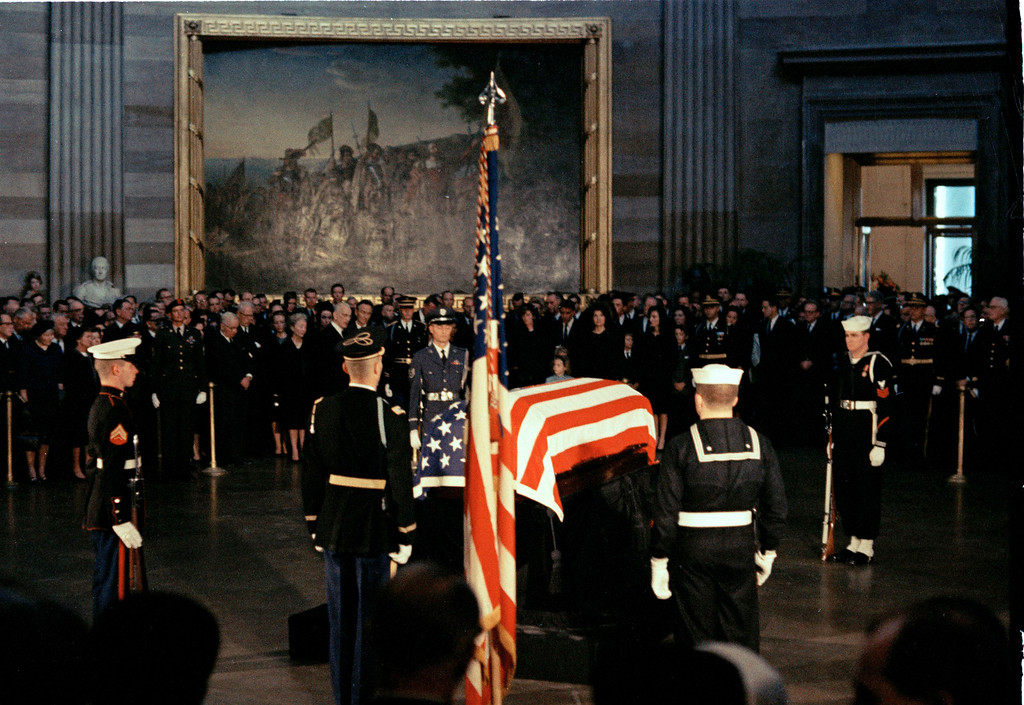 . The flag-draped casket of President John F. Kennedy lies in state in the East Room of the White House in Washington, Nov. 23, 1963.   (AP Photo)