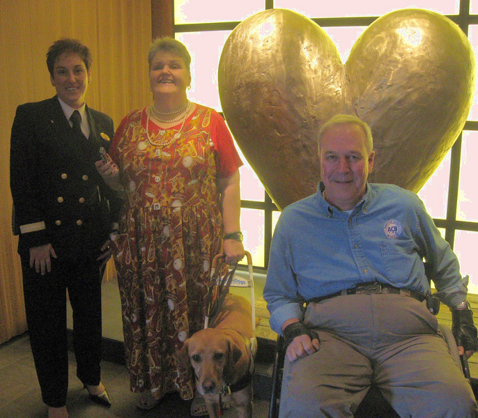 We had a personal tour of the ship with Event Coordinator Kim Heroux--Marlaina with Aggie and husband Gary are pictured here in front of a tactile heart installation.