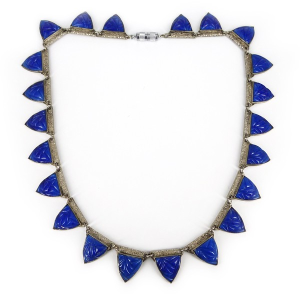 Antique Czech Art Deco Carved Lapis Glass Panel Necklace