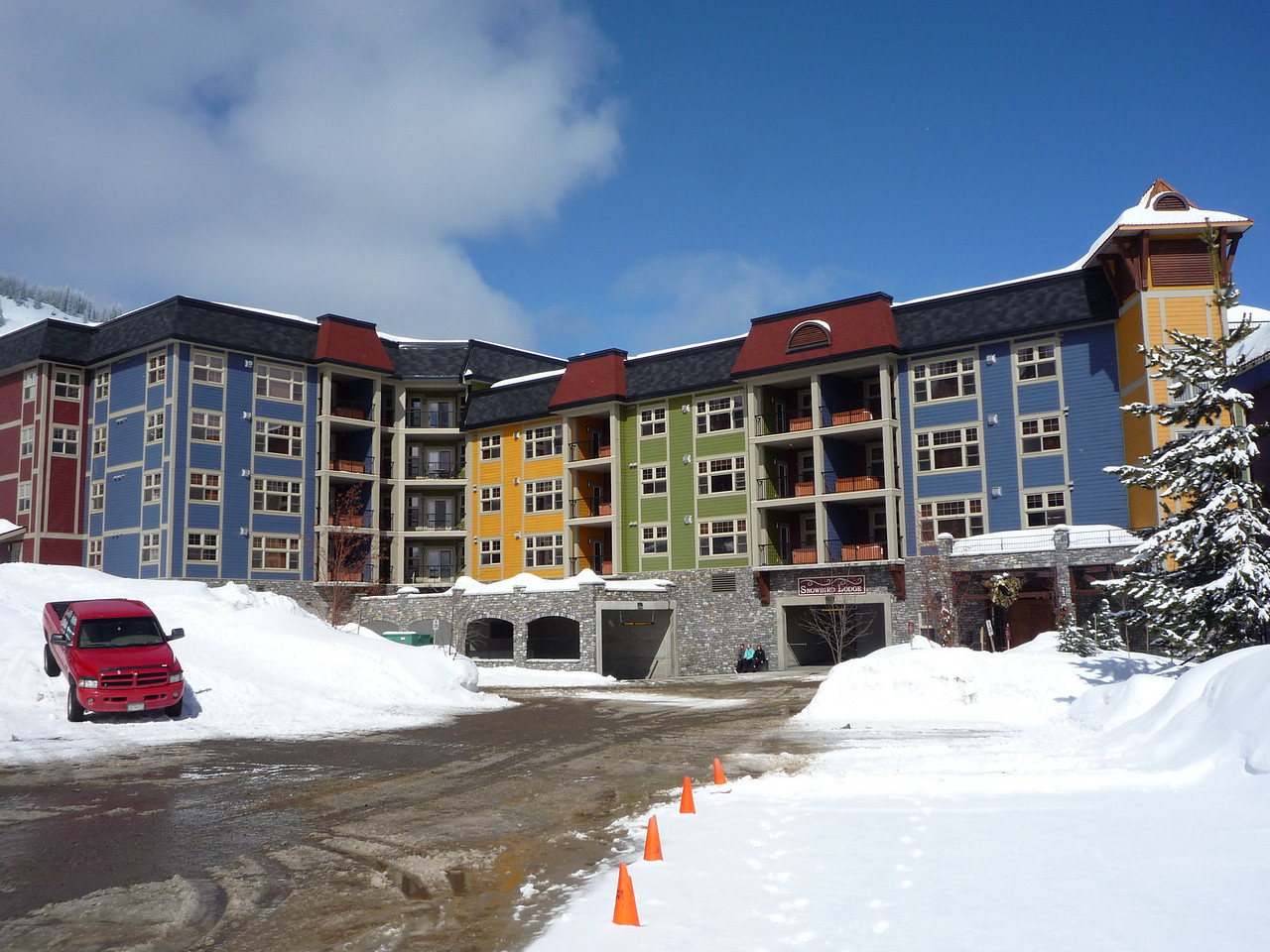 Another view of Snowbird Lodge.  You count the number of colours.