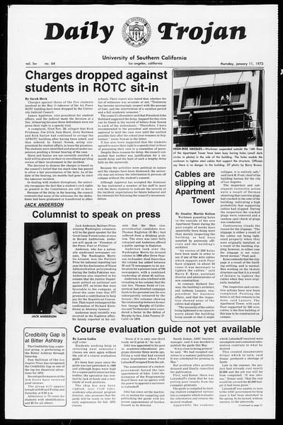 Daily Trojan, Vol. 65, No. 64, January 11, 1973