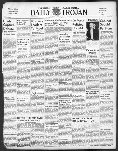 Daily Trojan, Vol. 29, No. 68, January 17, 1938