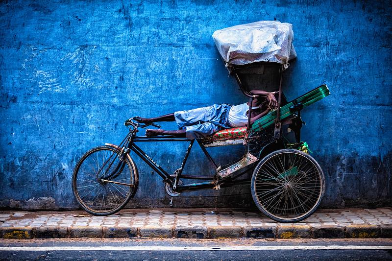 Sleeping indian velorikshaw