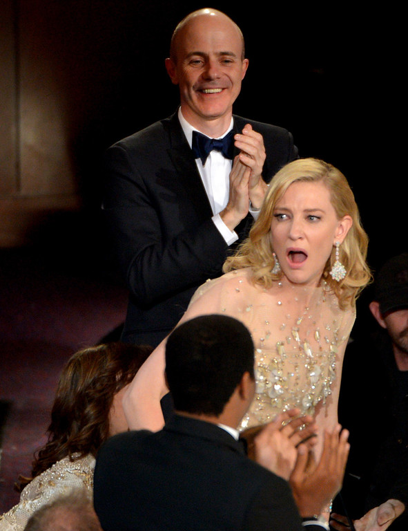 ". Cate Blanchett reacts after winning the award for best actress in a leading role for ""Blue Jasmine\"" during the Oscars at the Dolby Theatre on Sunday, March 2, 2014, in Los Angeles.  (Photo by John Shearer/Invision/AP)"