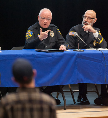 03/19/18 Wesley Bunnell   Staff Berlin held a school security safety meeting on Monday night at Berlin High School which was open to the public. Representatives from the town, police and fire departments gave an overview of their current responsibilities as well as planned changes while later answering questions from the audience. Police Chief John Klett addresses a question from an audience member as he is seated next to Deputy Fire Marshal/Director of Emergency Management Matt Odishoo.