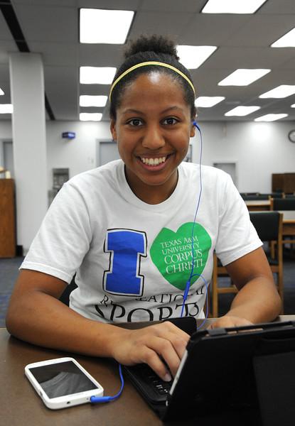 Student Bianca Garcia studies for her criminal justice assigment.