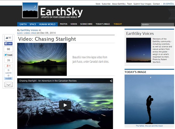 EarthSky - Chasing Starlight 12/9/2014
