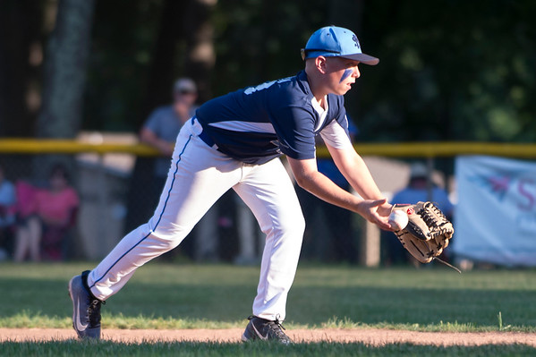 07/08/19 Wesley Bunnell | Staff Forrestville vs Southington North Little League baseball at Recreation Park in Southington on Monday July 8, 2019. Colin LaRose (33) underhands the ball to the second baseman for the force out.