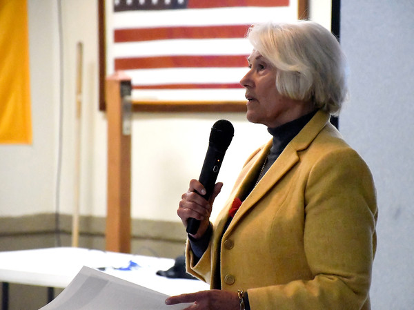 4/19/2018 Mike Orazzi | Staff The Memorial Military Museum's Carol Denehy during a program on the 100 year anniversary of the Battle of Seicheprey held at the American Legion Post 2, which is named after the battle.