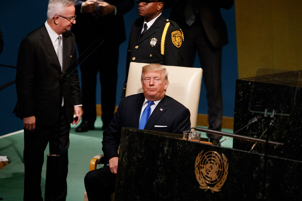 . President Donald Trump takes a seat after delivering a speech to the United Nations General Assembly, Tuesday, Sept. 19, 2017, in New York. (AP Photo/Evan Vucci)