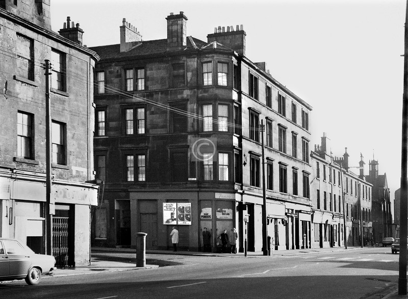 Dalmarnock Rd, east side at Ruby St, Congregational Church in the distance.    January 1974