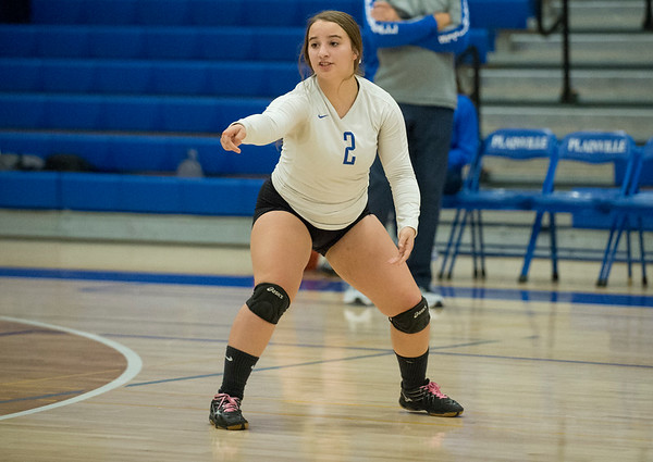 10/21/19 Wesley Bunnell | StaffrrPlainville High School girls volleyball vs visiting Berlin High on Monday night. Plainville's Simona Barbagallo (2).
