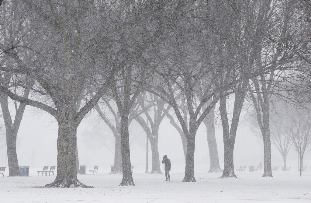 . Blowing snow begins to pile up along the National Mall January 21, 2014 in Washington, DC. A strong winter storm is bearing down on the East Coast between Virginia and Massachusetts and could dump four to eight inches of snow on the Washington area.  (Photo by Chip Somodevilla/Getty Images)