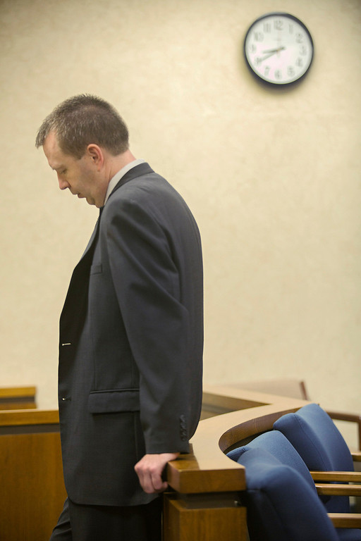 . Michael Allen Blair/MBlair@News-Herald.com Kevin Knoefel waits for his conspiracy trial to resume in Lake County Common Pleas Court on  June 2, 2014.