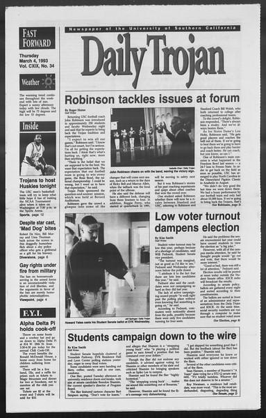 Daily Trojan, Vol. 119, No. 34, March 04, 1993