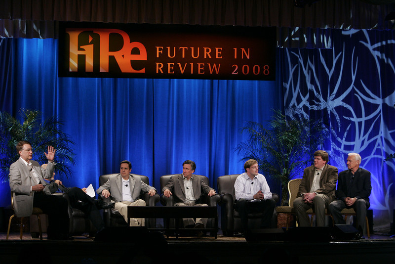 """CTO Design Challenge: """"And the Solution Is--"""": (L-R) Host Larry Smarr, Brian Higbee, Kevin Walter, Kelly Millsaps, Ty Carlson, and Ron Roberts"""