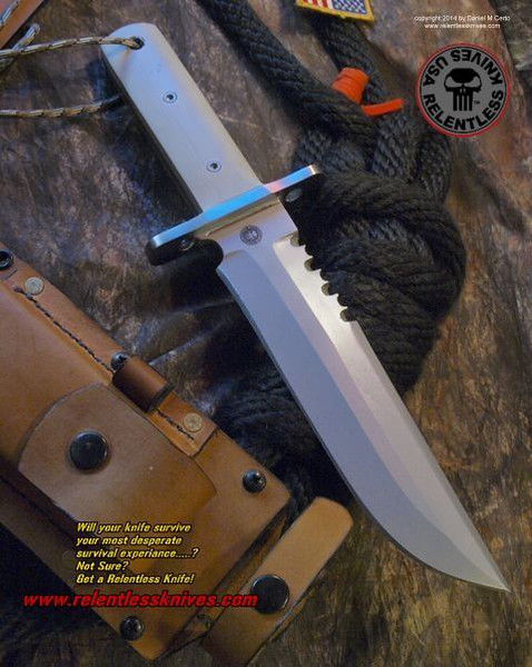 Relentless Knives M9 Rattle Snake Bowie Custom Military Survival knife