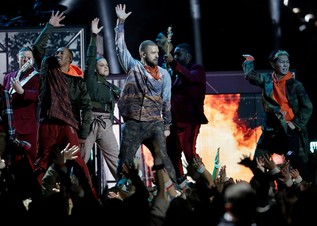 . Justin Timberlake performs during halftime of the NFL Super Bowl 52 football game between the Philadelphia Eagles and the New England Patriots Sunday, Feb. 4, 2018, in Minneapolis. (AP Photo/Matt Slocum)