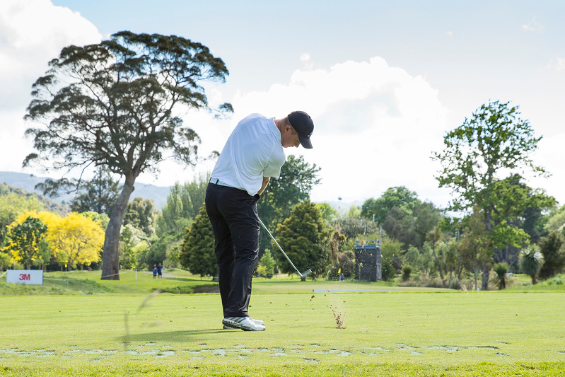 Daniel Hillier from New Zealand executing his shot on the 8th hole on the 2nd day of competition  in the Asia-Pacific Amateur Championship tournament 2017 held at Royal Wellington Golf Club, in Heretaunga, Upper Hutt, New Zealand from 26 - 29 October 2017. Copyright John Mathews 2017.   www.megasportmedia.co.nz