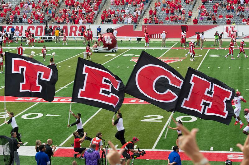Texas Tech runs her own flags.