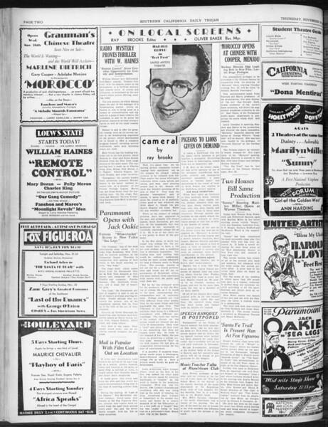 Daily Trojan, Vol. 22, No. 49, November 20, 1930