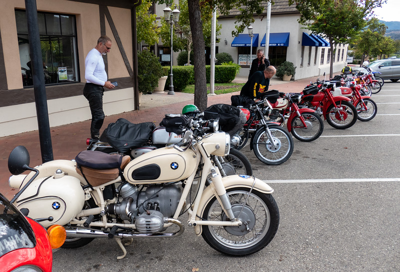 Parking outside the Solvang Vintage Motorcycle Museum