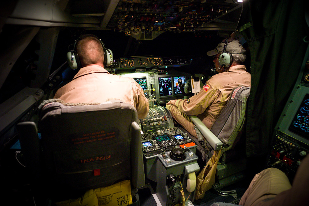 . Pilots in the nighttime cockpit of NASA\'s SOFIA, a modified 747SP fly a very tight course as the infrared telescope scans the universe.  (Photo by David Crane/Los Angeles Daily News)