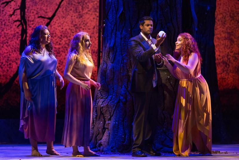 "Claudia Chapa, Aleksandra Romano and Raquel González as The Three Ladies and Sean Panikkar as Tamino in The Glimmerglass Festival's 2015 production of Mozart's ""The Magic Flute."" Photo: Karli Cadel/The Glimmerglass Festival"