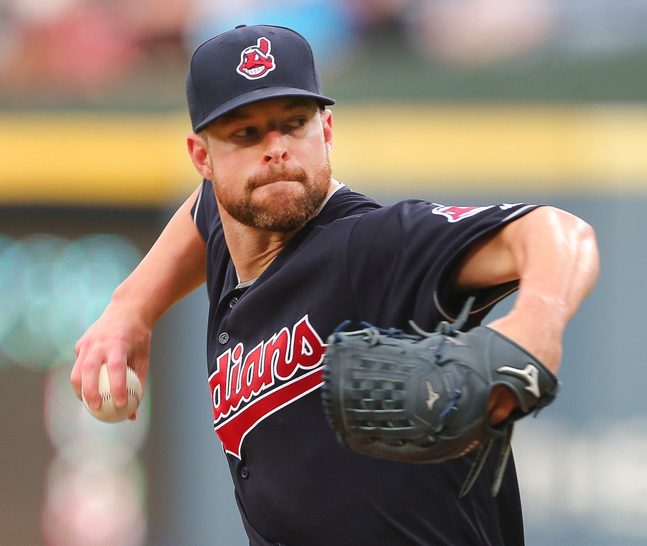 . Cleveland Indians starting pitcher Corey Kluber throws against the Atlanta Braves in the first inning of a baseball game Tuesday, June 28, 2016, in Atlanta. (AP Photo/John Bazemore)