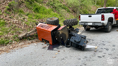 Hunter Rd - East Fallowfield - Overturned Trench Cutter