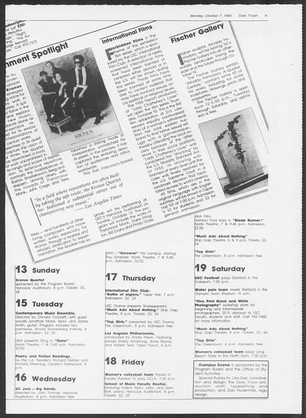 Daily Trojan, Vol. 100, No. 25, October 07, 1985