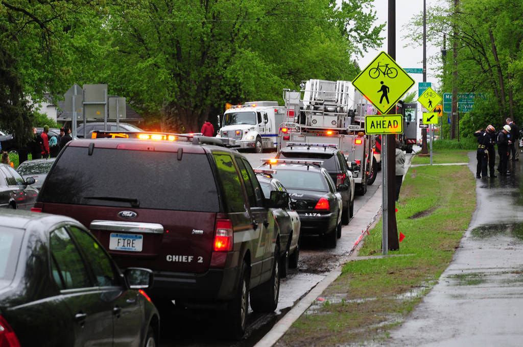 . Emergency vehicles line the road near the intersection of Annapolis Street and Chippewa Avenue, adjacent to the rescue site at Lilydale Regional Park. (Pioneer Press: Scott Takushi)